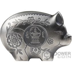 JOLLY PIG Maiale Lunar Year 1 Oz Moneta Argento 1000 Togrog Mongolia 2019