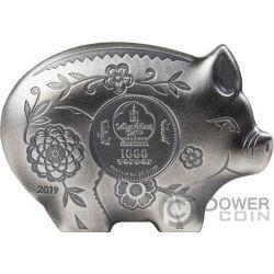 JOLLY PIG Schweins Lunar Year 1 Oz Silber Münze 1000 Togrog Mongolia 2019