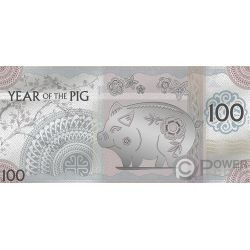YEAR OF THE PIG Maiale Foil Banconota Argento 100 Togrog Mongolia 2019
