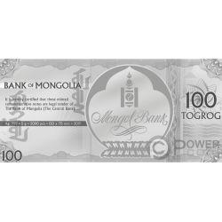YEAR OF THE PIG Cerdo Foil Billete Plata 100 Togrog Mongolia 2019