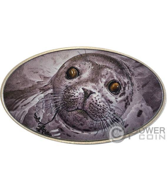 PINNIPED Foca Pinnipede Animal Skin 1 Oz Moneta Plata 2$ Niue 2018