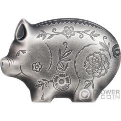 JOLLY PIG Cerdo Lunar Year 1 Oz Moneda Plata 1000 Togrog Mongolia 2019