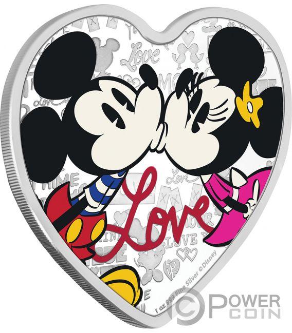 LOVE Heart Shape Mickey Minnie Mouse Disney 1 Oz Silver Coin 2$ Niue 2019