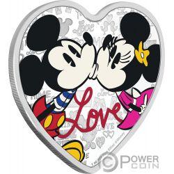 LOVE Forma Cuore Topolino Minni Disney 1 Oz Moneta Argento 2$ Niue 2019