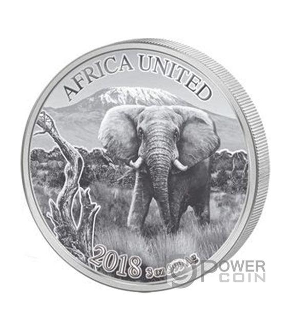 ELEPHANT Africa United Elefante 3 Oz Moneda Plata 1500 Francos Ivory Coast Benin Congo Mali Niger Guinea 2018