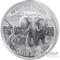 ELEPHANT Africa United Elefante 3 Oz Moneta Argento 1500 Franchi Ivory Coast Benin Congo Mali Niger Guinea 2018