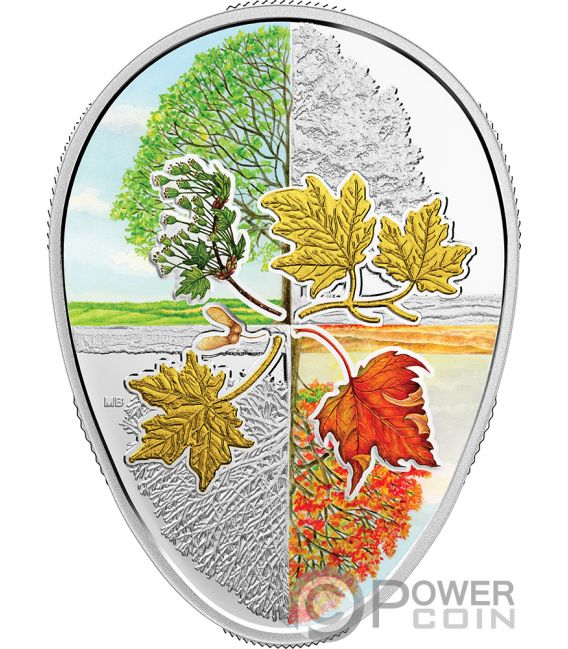 Four Seasons Of The Maple Leaf Shaped 1 Oz Silver Coin 20