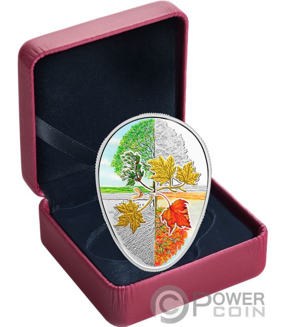 FOUR SEASONS OF THE MAPLE LEAF Shaped 1 Oz Silver Coin 20$ Canada 2018