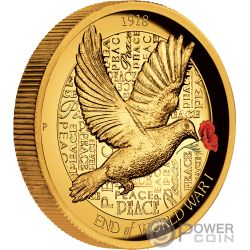 END OF WORLD WAR I Erster Weltkrieg 100 Jahrestag 2 Oz Gold Münze 200$ Australia 2018