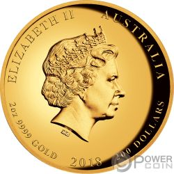 END OF WORLD WAR I Guerra Mundial 100 Aniversario 2 Oz Moneda Oro 200$ Australia 2018