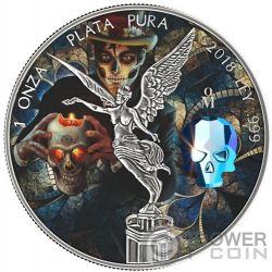 CRYSTAL SKULL Dia De Los Muertos Libertad 1 Oz Moneda Plata Mexico 2018
