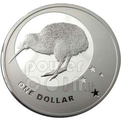 ICONE KIWI CROCE DEL SUD Moneta Argento 1$ Nuova Zelanda 2010