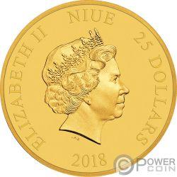 MICKEY MOUSE 90 Jahrestag Disney Gold Münze 25$ Niue 2018
