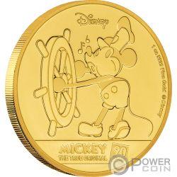 MICKEY MOUSE Topolino 90 Anniversario Disney 1 Oz Moneta Oro 250$ Niue 2018