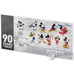 MICKEY MOUSE 90 Jahrestag Disney 2 Oz Silber Note 1$ Niue 2018