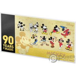 MICKEY MOUSE 90 Jahrestag Disney 2 Oz Gold Note 10$ Niue 2018