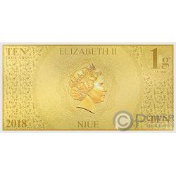 MICKEY MOUSE Topolino 90 Anniversario Disney Banconota Oro 10$ Niue 2018