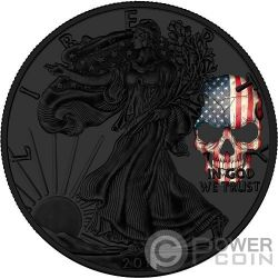 AMERICAN SKULL Teschio Walking Liberty 1 Oz Moneta Argento 1$ US Mint 2018