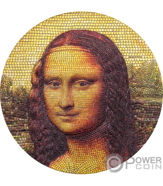 MONA LISA Джоконда Леонардо Да Винчи Великолепная Микромазайка Страсть 3 Oz Серебро Монета 20$ Палау 2018