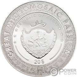 MONA LISA Monna Leonardo Da Vinci Great Micromosaic Passion 3 Oz Silber Münze 20$ Palau 2018