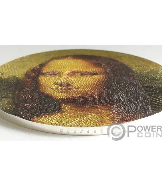 MONA LISA Monna Leonardo Da Vinci Great Micromosaic Passion 3 Oz Silver Coin 20$ Palau 2018