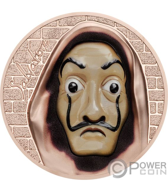 SALVATORE Dali Money Heist Revolutionary Masks 1 Oz Серебро Монета 5$ Острова Кука 2018