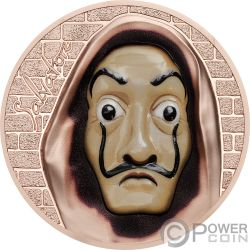 SALVATORE Dali Casa Papel Revolutionary Masks 1 Oz Moneda Plata 5$ Cook Islands 2018