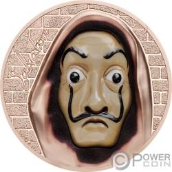 SALVATORE Dali Money Heist Revolutionary Masks 1 Oz Silver Coin 5$ Cook Islands 2018