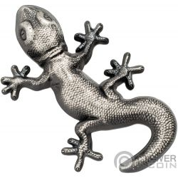 GECKO Natural Perspectives Shaped 1 Oz Silber Münze 5$ Palau 2018