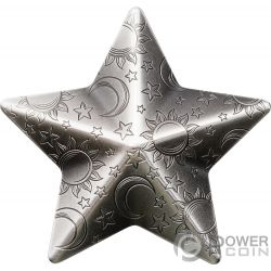 TWINKLING STAR Charms Shape 1 Oz Silver Coin 5$ Palau 2018