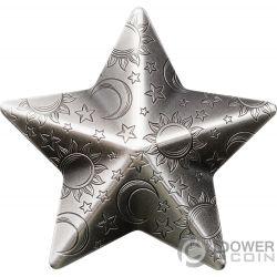 TWINKLING STAR Estrella Charms Forma 1 Oz Moneda Plata 5$ Palau 2018