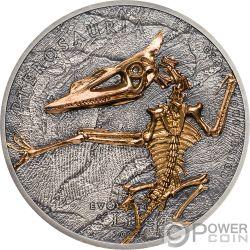 PTEROSAUR Pterosaurio Evolution of Life 1 Oz Moneda Plata 500 Togrog Mongolia 2018