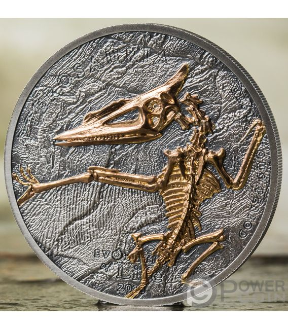 PTEROSAUR Evolution of Life 1 Oz Silver Coin 500 Togrog Mongolia 2018