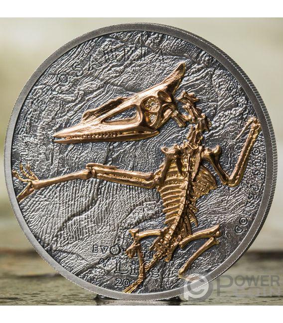 PTEROSAUR Pterosauro Evolution of Life 1 Oz Moneta Argento 500 Togrog Mongolia 2018