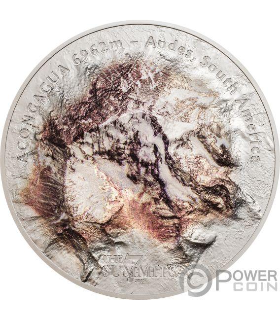 ACONCAGUA Berg 7 Summits Südamerika Anden 5 Oz Silber Münze 25$ Cook Islands 2018