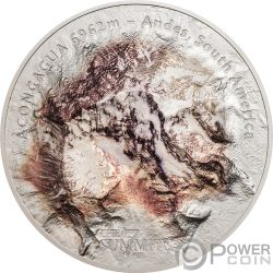 ACONCAGUA Berg 7 Summits Südamerika Anden 5 Oz Silber Münze 25$ Cook Islands 2018