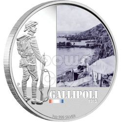 GALLIPOLI FAMOUS BATTLES 1915 Silver Coin 1$ Australia 2011