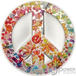 SUMMER OF LOVE Peace 1 Oz Серебро Монета 5$ Палау 2018