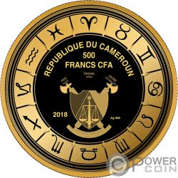 ARIES Zodiac Signs Moneta Plata 500 Francos Cameroon 2018
