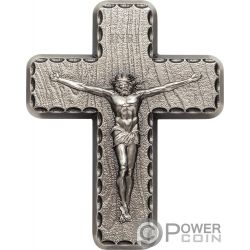CRUCIFIX INRI Crocifisso Lords Prayer 2 Oz Moneta Argento