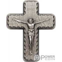CRUCIFIX INRI Crucifijo Lords Prayer 2 Oz Moneda Plata