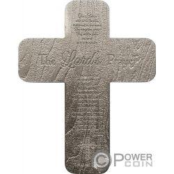 CRUCIFIX INRI Crocifisso Lords Prayer 2 Oz Moneta Argento