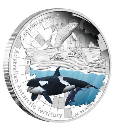 KILLER WHALE Australian Antarctic Territory Silver Coin 1$ Australia 2011