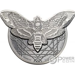 DEATHS HEAD HAWKMOTH Esfinge Calavera 2 Oz Moneda Plata 1500 Shillings Tanzania 2018