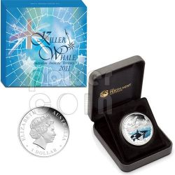 KILLER WHALE Australian Antarctic Territory Moneda Plata 1$ Australia 2011
