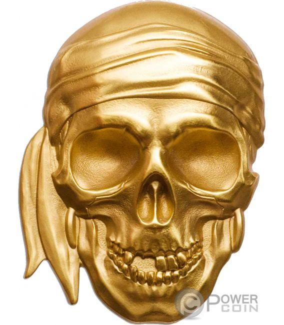 PIRATE SKULL Piratenschädel Shape 1 Oz Gold Münze 200$ Palau 2018