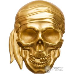 PIRATE SKULL Shape 1 Oz Gold Coin 200$ Palau 2018