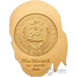 PIRATE SKULL Shape 1 Oz Gold Coin 200$ Palau 2018