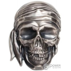 BIG PIRATE SKULL Shape 1/2 Kilo Silver Coin 25$ Palau 2018