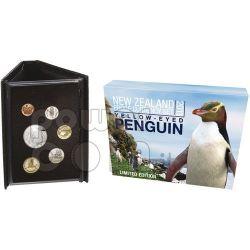 PINGUINO OCCHI GIALLI SET 6 Monete Argento Proof 5$ Nuova Zelanda 2011